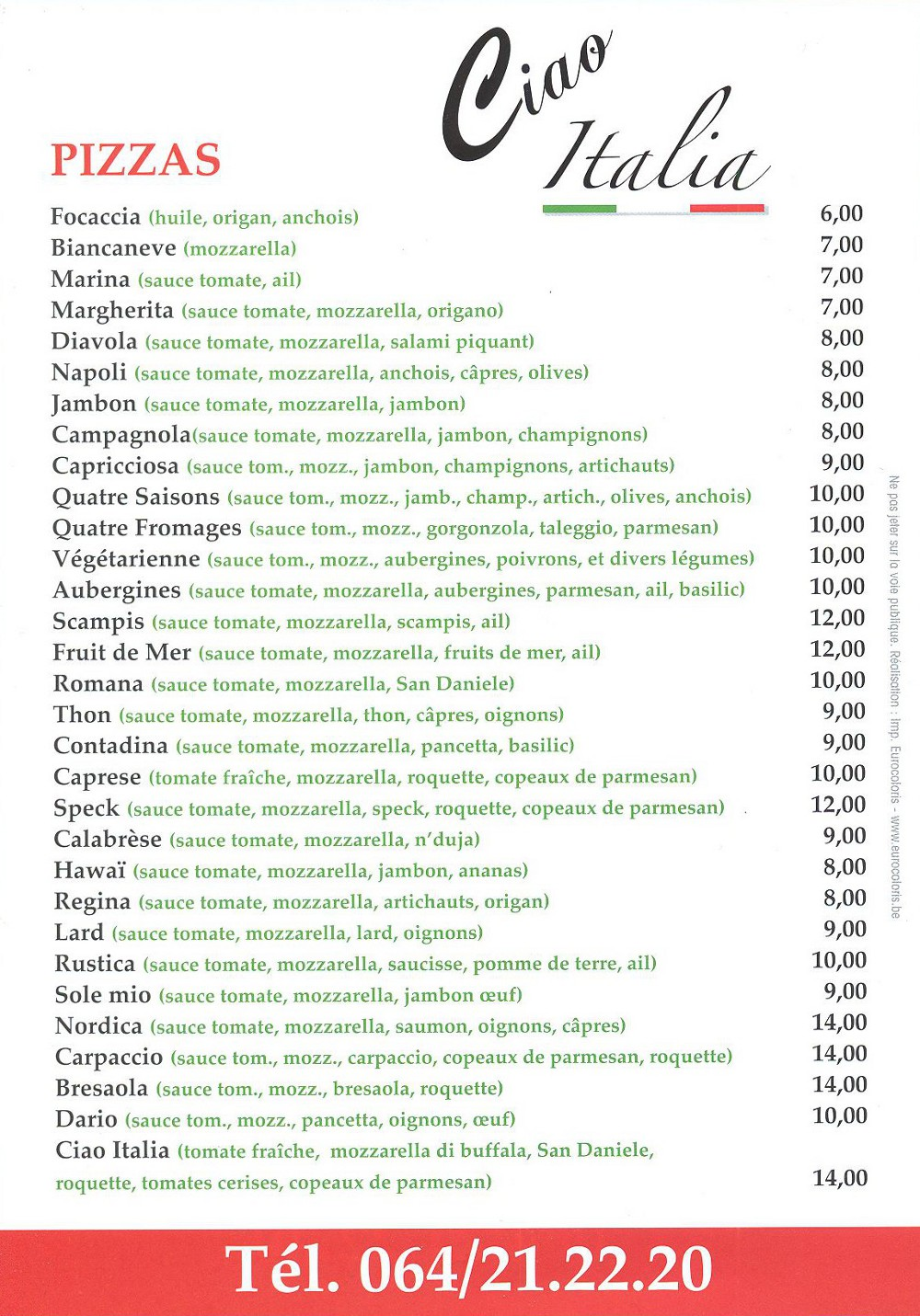 Ciao Italia Spécialités Italiennes & Pizzeria